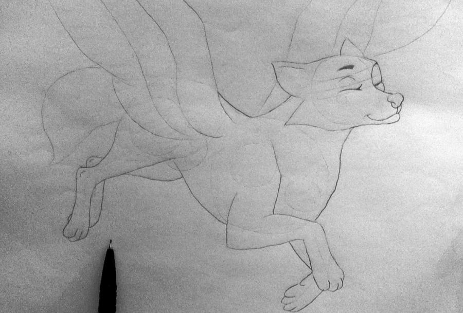 Рисуем фэнтези волчицу в полете карандашами - шаг 7