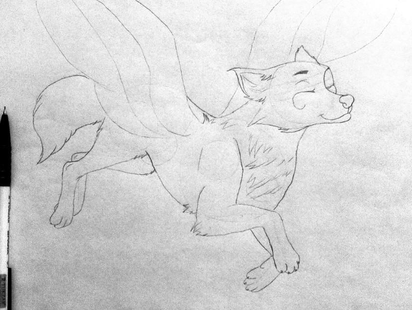 Рисуем фэнтези волчицу в полете карандашами - шаг 8