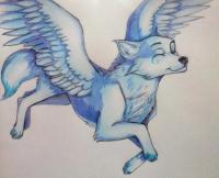 Рисунок фэнтези волчицу в полете