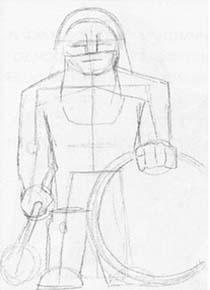 Рисуем Гнома с булавой и щитом