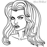 голову девушки-вампира карандашом