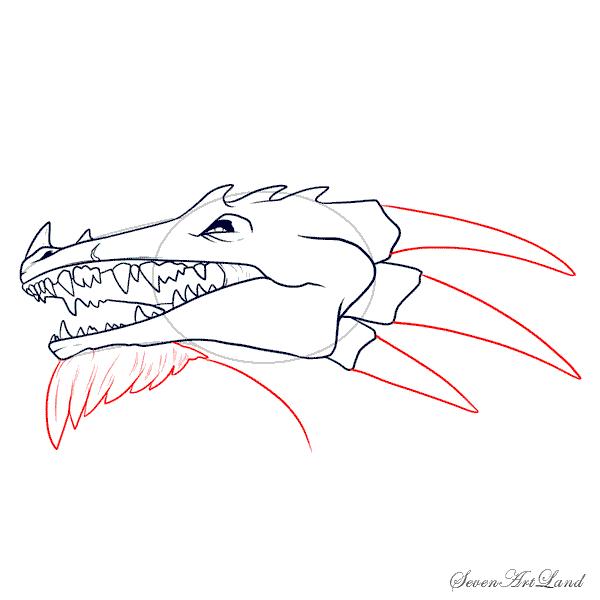 Рисуем голову рогатого Дракона