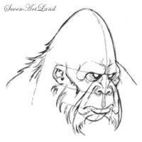 голову снежного человека карандашом