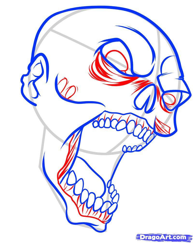 Поэтапно нарисованный зомби