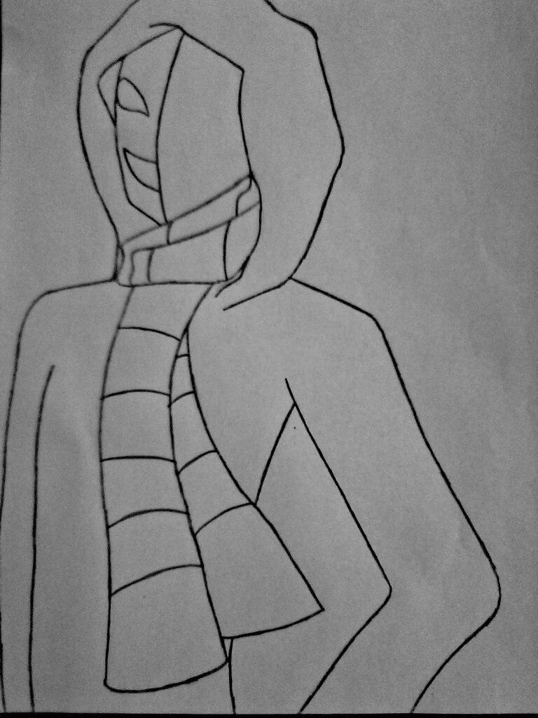 Как нарисовать КагеКао из крипипасты карандашом поэтапно - шаг 5