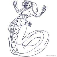 мифическое существо - Нага карандашом