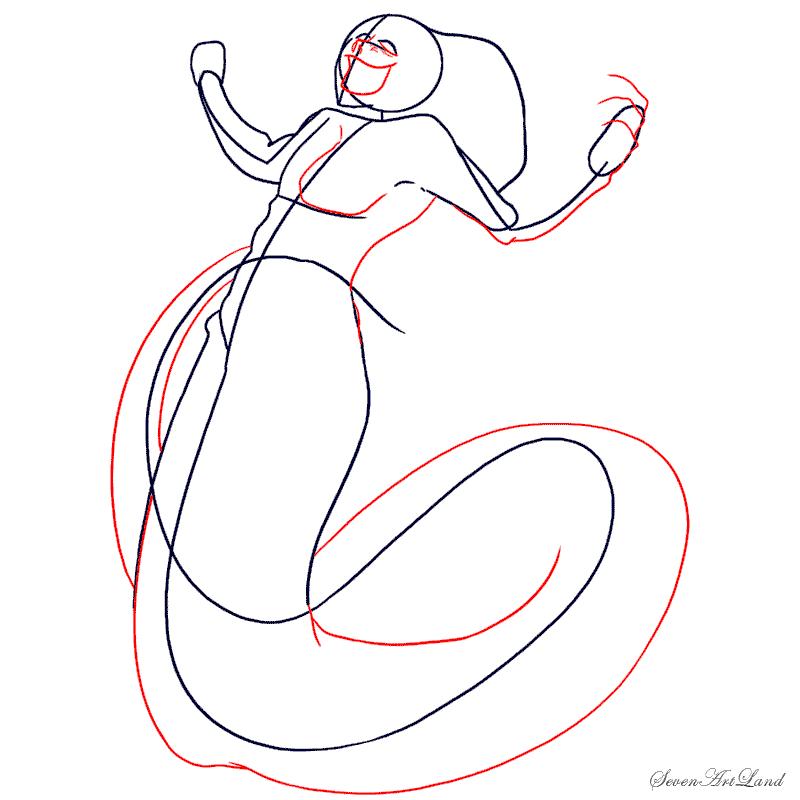 Как нарисовать мифическое существо - Нага карандашом поэтапно