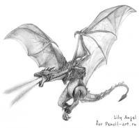Фото огнедышащего дракон на бумаге карандашом