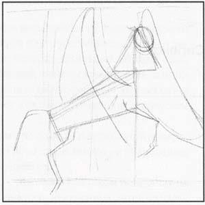 Рисуем Пегаса в момент прыжка - шаг 1