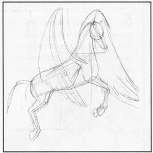 Рисовать пегаса лошади