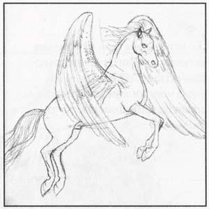 Рисуем Пегаса в момент прыжка - шаг 3