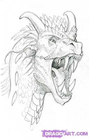 Как нарисовать реалистичную голову Дракона карандашом поэтапно