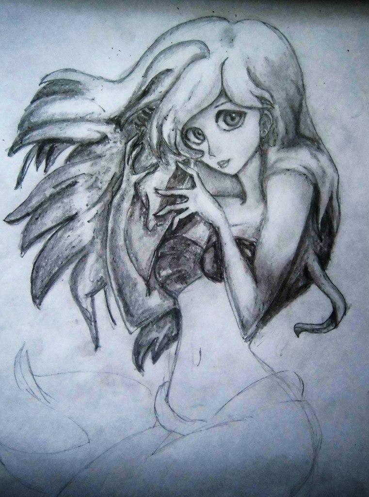 Рисуем милую Ариэль  на бумаге - шаг 11