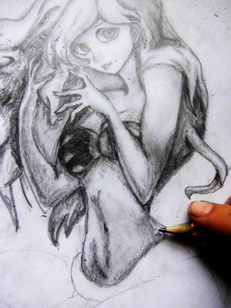 Рисуем милую Ариэль  на бумаге - шаг 12