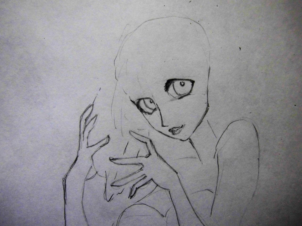 Рисуем милую Ариэль  на бумаге - шаг 4