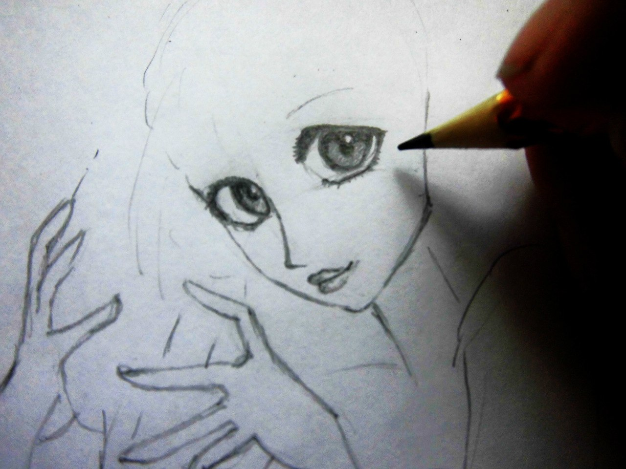 Рисуем милую Ариэль  на бумаге - шаг 5