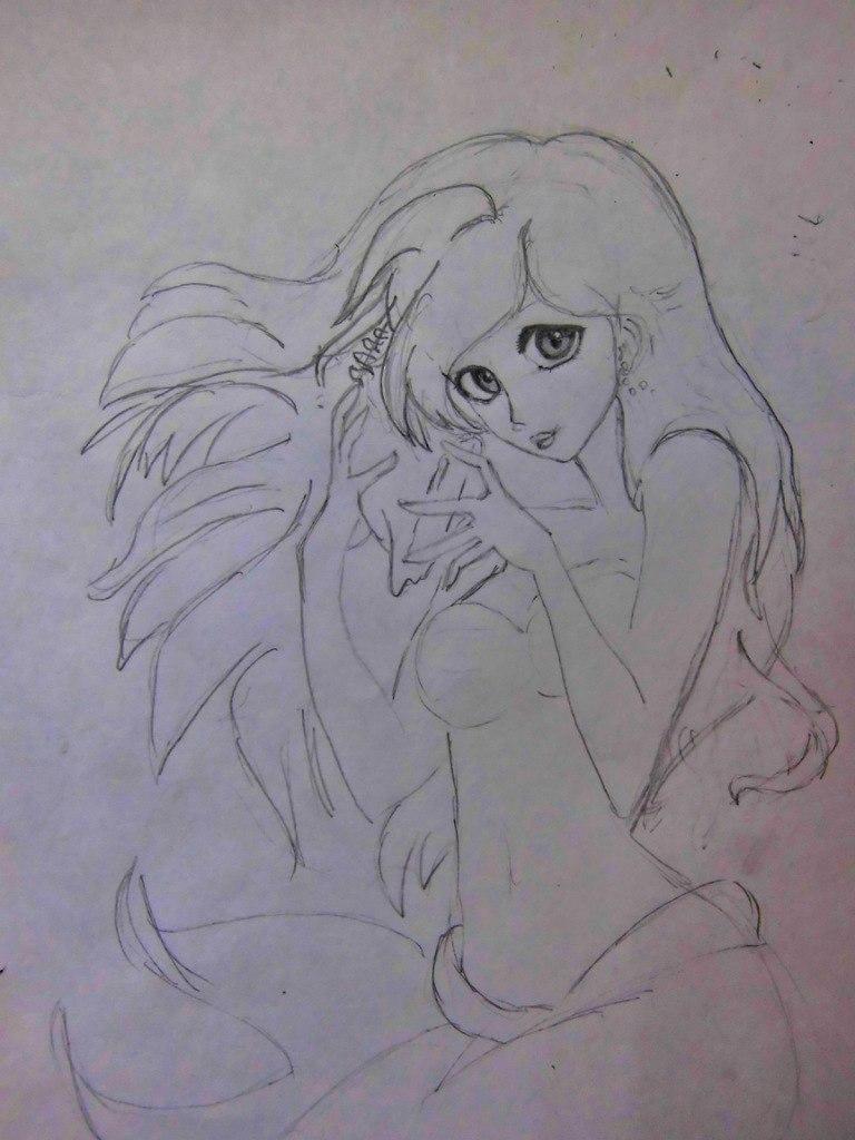 Рисуем милую Ариэль  на бумаге - шаг 6