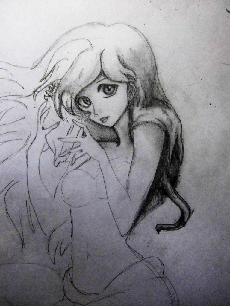 Рисуем милую Ариэль  на бумаге - шаг 8