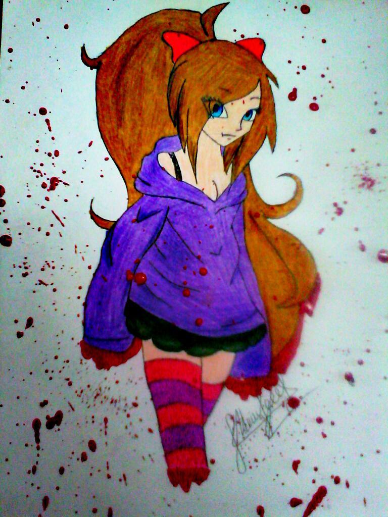Как нарисовать симпатичную Нину убийцу из крипипасты карандашом поэтапно