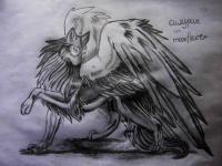 Симурана, крылатого волка карандашом