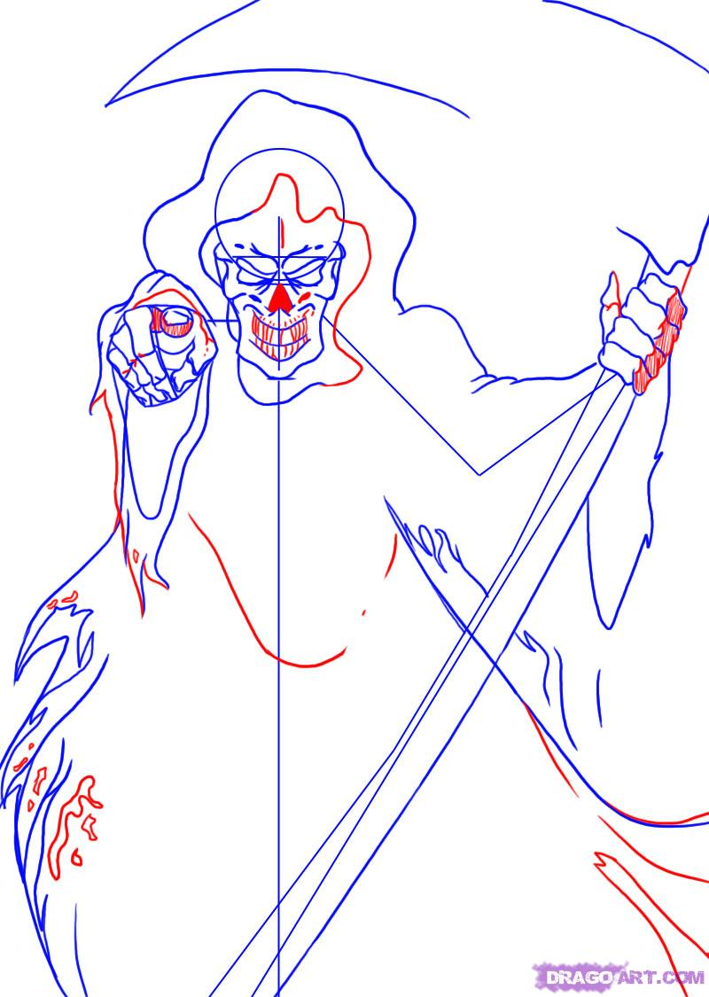 Как нарисовать смерть с косой карандашом поэтапно