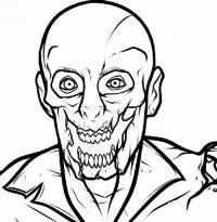 Фото страшного зомби на бумаге карандашом