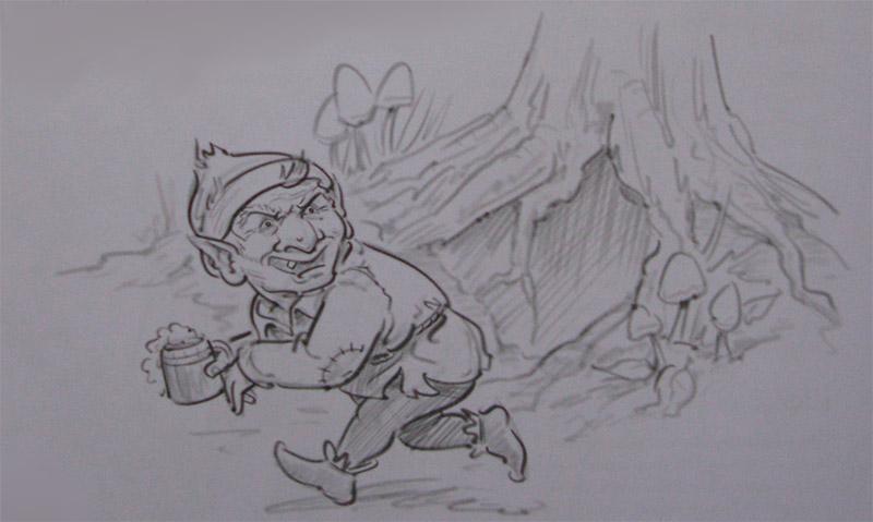 Как нарисовать убегающего Гоблина карандашом поэтапно