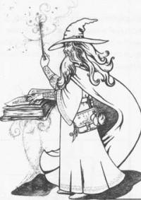 Волшебника с волшебной палочкой и книгой карандашом