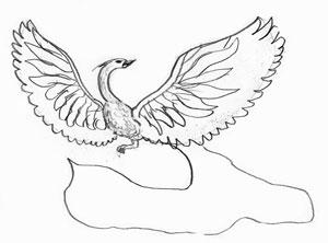 Рисуем Жар-птицу на бумаге