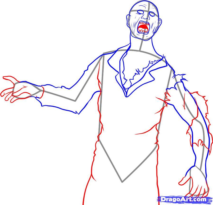 Как нарисовать Зомби карандашом поэтапно