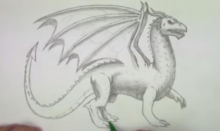 Учимся рисовать дракона простым  на бумаге