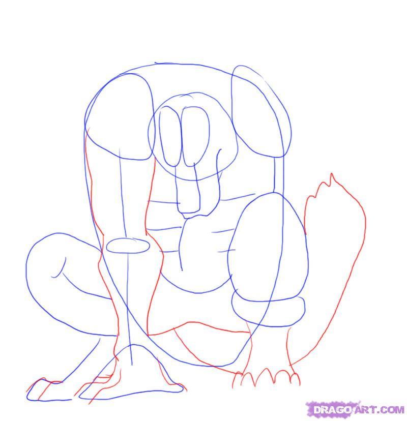 Рисуем оборотня карандашами - шаг 6