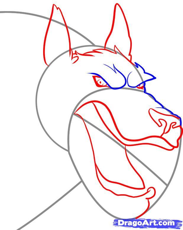Рисуем голову оборотня - шаг 3