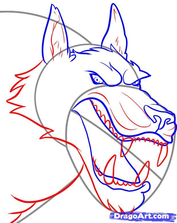 Рисуем голову оборотня - шаг 4