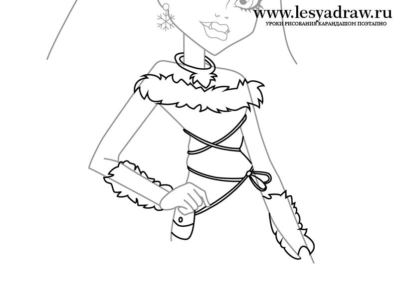 Как нарисовать Эбби из Монстр Хай на бумаге карандашом