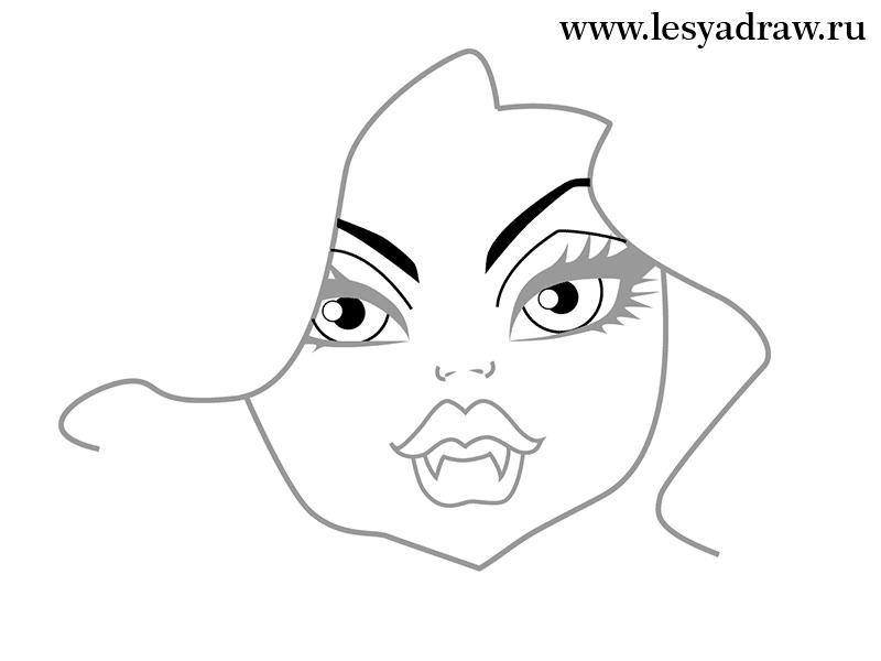 Рисуем голову Клодин Вульф - фото 3