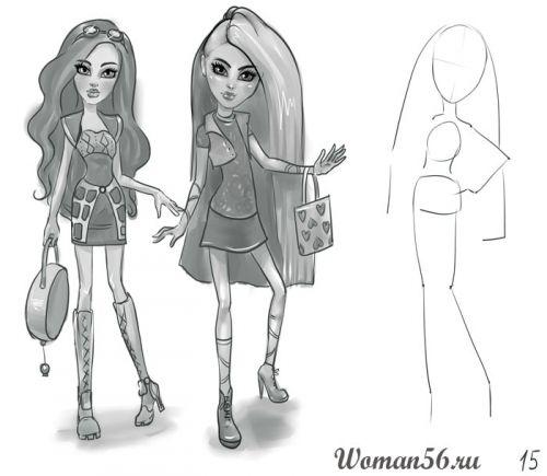 Как нарисовать кукол монстр хай карандашом поэтапно