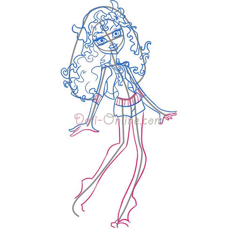 Как нарисовать Лагуну Блю из Школы Монстров карандашом