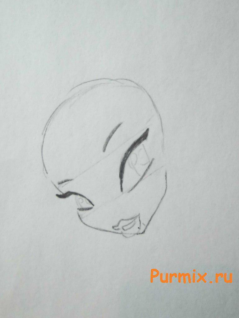 Рисуем Лейлу из мультсериала Клуб Винкс: Школа волшебниц - шаг 2