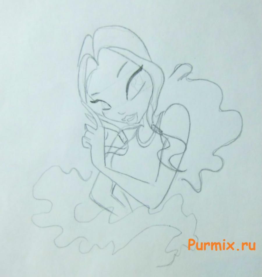 Рисуем Лейлу из мультсериала Клуб Винкс: Школа волшебниц - шаг 4