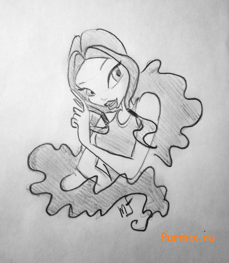 Рисуем Лейлу из мультсериала Клуб Винкс: Школа волшебниц - шаг 7
