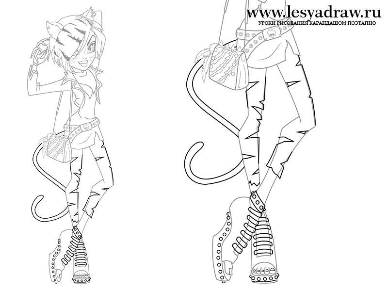 Как нарисовать куклу монстер хай карандашом поэтапно