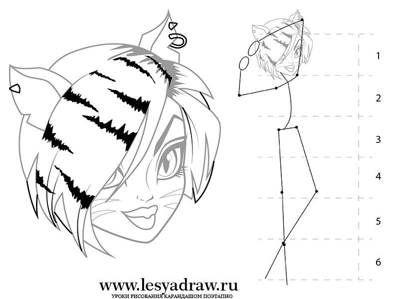 Рисуем Торалей Страйп из Монстр Хай на бумаге - фото 5