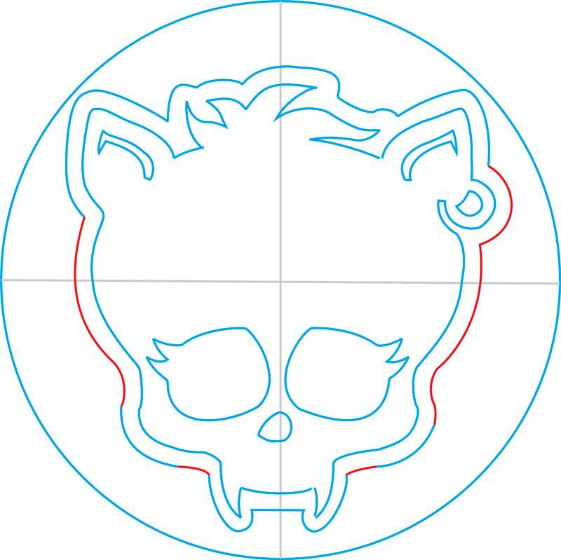 Рисуем знак Клодина Вульфа из Монстр Хай - шаг 10