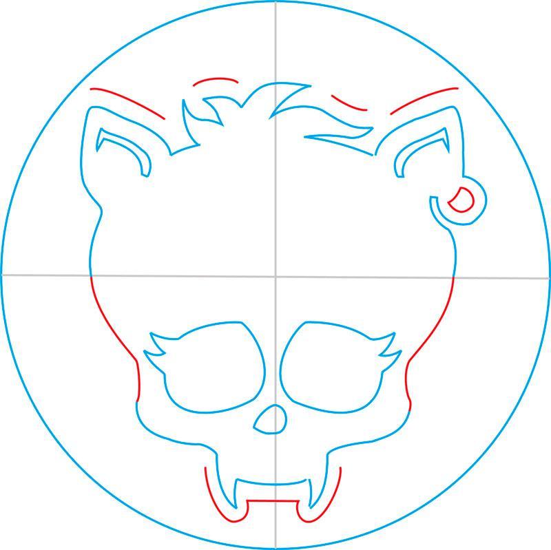 Рисуем знак Клодина Вульфа из Монстр Хай - шаг 8