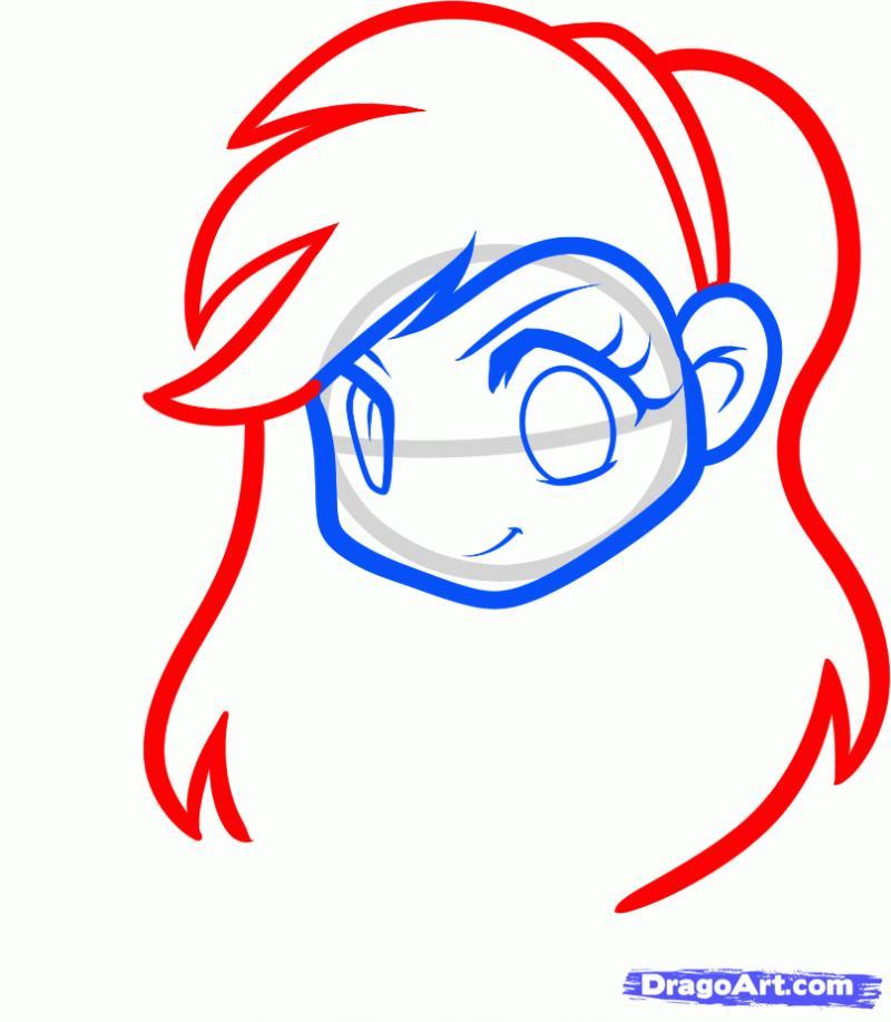 Как нарисовать Rainbow Dash в виде человека карандашом