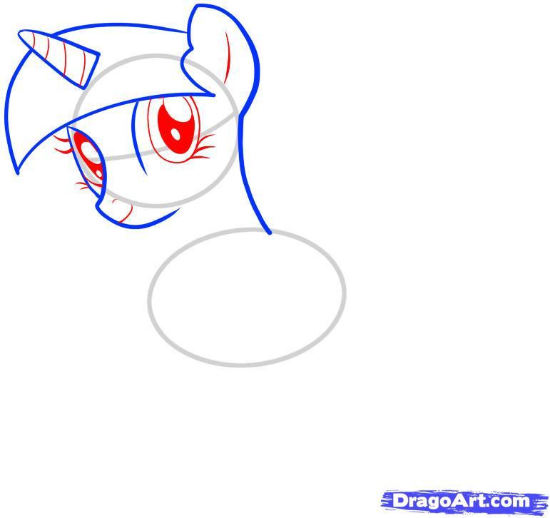 Рисуем единорога Сумеречная Искорка - шаг 4