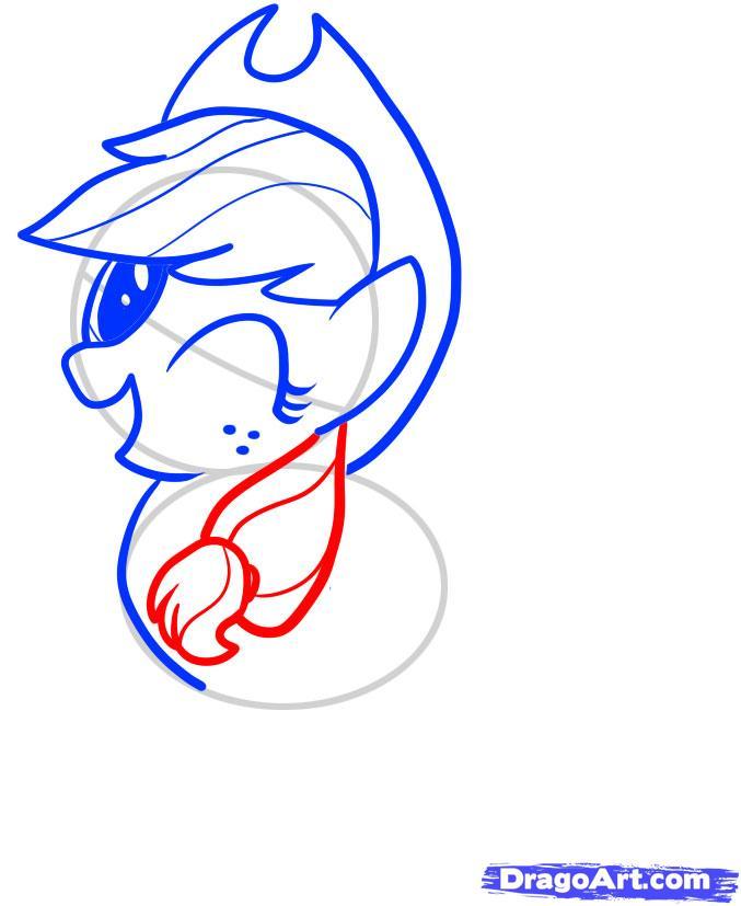 Рисуем пони Эпплджек из Дружба - это чудо - шаг 5