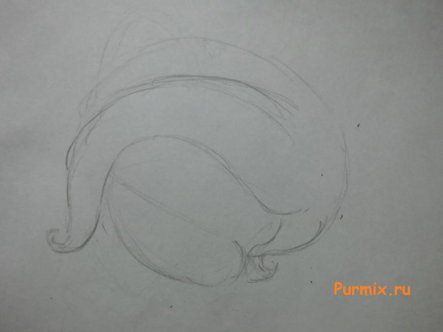 Рисуем милую пони Флаттершай карандашами - шаг 1