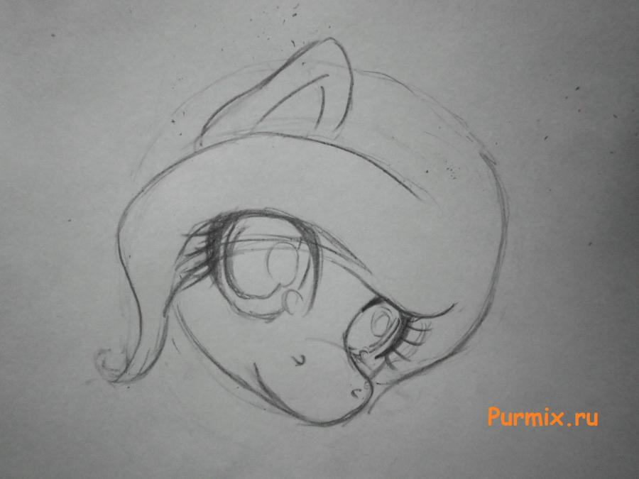 Рисуем милую пони Флаттершай карандашами - шаг 2